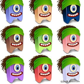 3D卡通独眼怪物设计矢量素材