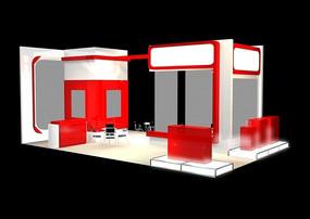 展覽展臺展柜展示空間紅白相間