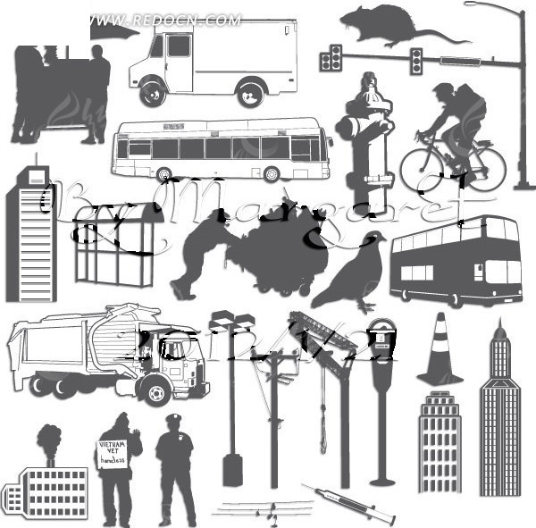 城市日常生活图案图片