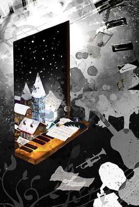 黑白卡通抽象音樂原色海報背景素材 PSD