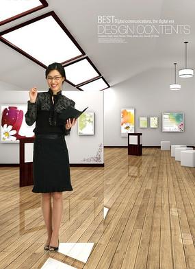 展厅内商务女秘书PSD素材