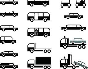 各種黑白卡通汽車圖標 AI