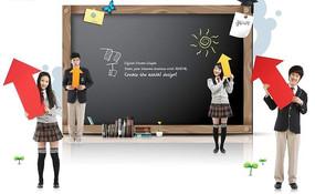 站在黑板前手拿箭头的学生素材