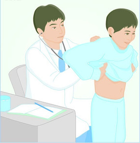 医生在检查病人身体状况插画