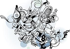 蝴蝶花纹矢量图