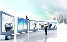 现代商务展厅平面效果图psd分层素材