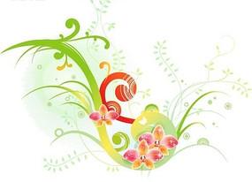 水彩背景上动感图案与蝴蝶兰