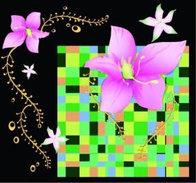 方格图案粉色花朵