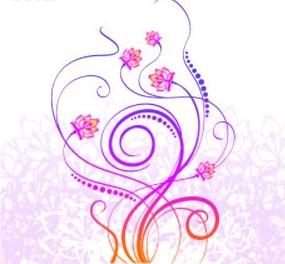 粉色肌理背景上的动感曲线与图案花