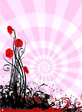 粉色背景上的花纹矢量图