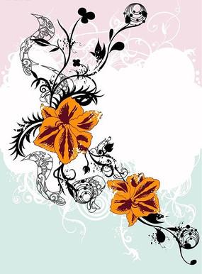 粉色背景上的黑色卷草与橙红色花朵