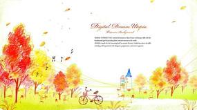 秋天的郊外插画PSD分层素材