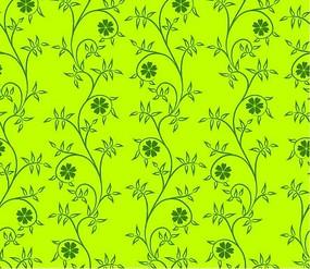 黄绿色背景上的绿色卷草六瓣花四方连续图案