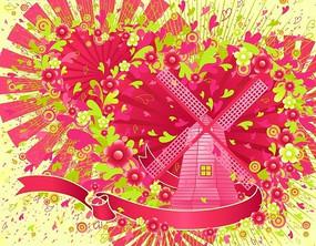 彩带粉色风车花纹