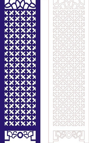 寶藍色中式四方連續圖案屏風鏤空花紋