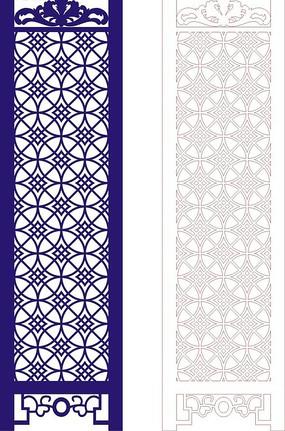 寶藍色調中式四方連續圖案門戶設計模板
