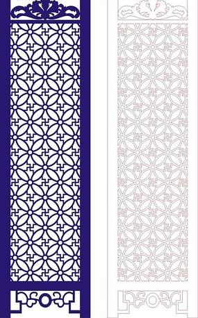 中式深藍色調四方連續圖案門戶設計模板