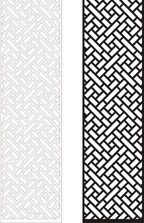 黑色中式四方連續圖案窗格鏤空花紋