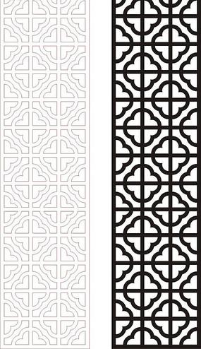 黑色中式四方连续图案窗格镂空花纹