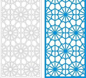 藍色中式四方連續圖案窗格鏤空花紋