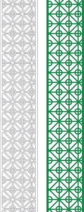綠色中式四方連續圖案窗格鏤空花紋