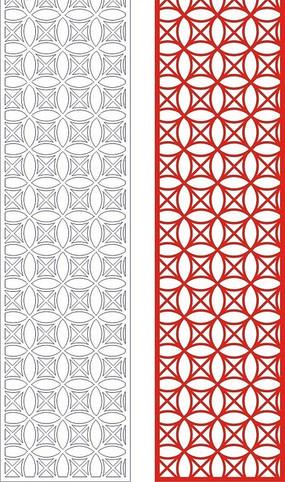中式紅色四方連續圖案窗格設計模板