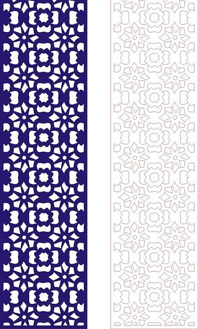 寶藍色中式四方連續圖案窗格鏤空花紋