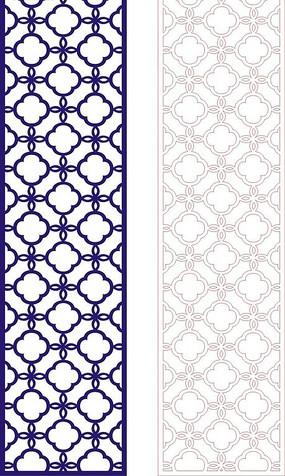 宝蓝色中式四方连续图案窗格镂空花纹