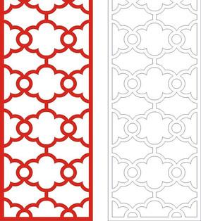 红色中式四方连续图案格镂空花纹