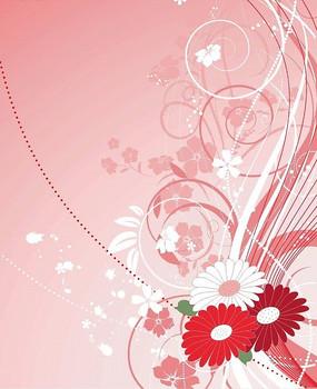 粉色调背景上动感曲线卷草图案花