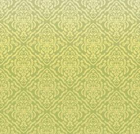 黄绿色背景上的四方连续图案花