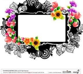 白描花朵和色彩花朵围绕的白色矩形镜框