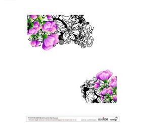 对角紫色花朵白描花纹设计