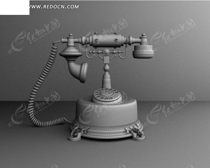 3D老式电话机模型图片