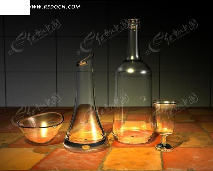 3D玻璃器具模型图片