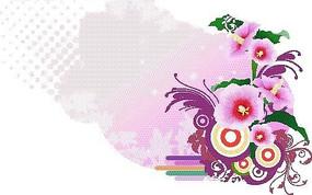 粉色调涂鸦背景上的蜀葵花与圈点图案