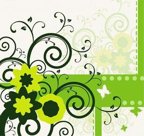綠色時尚花紋花邊矢量圖