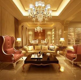 照片级温馨欧式客厅及餐厅3ds模型