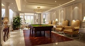 欧式风格台球室  3ds模型