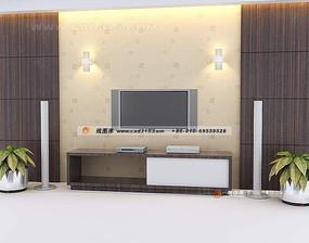 中式风格背景墙3D效果图