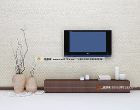 极简风格 背景墙3D效果图