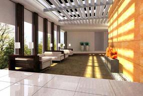 黄色背景墙休息区3D效果图