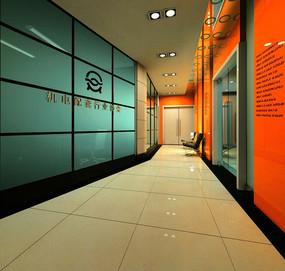 橙色背景豪华过厅效果图