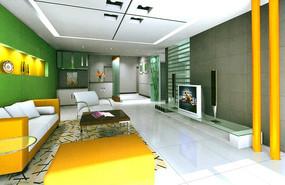 绿色背景墙新潮客厅装饰效果图