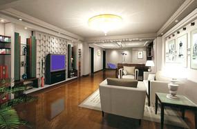 时尚客厅效果图3D素材下载