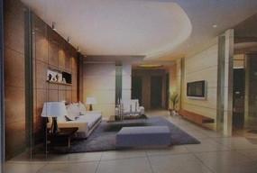 弧形吊顶现代客厅3dmax模型