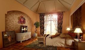 阁楼式卧室3D模型图