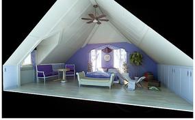 现代紫色调阁楼3D模型图