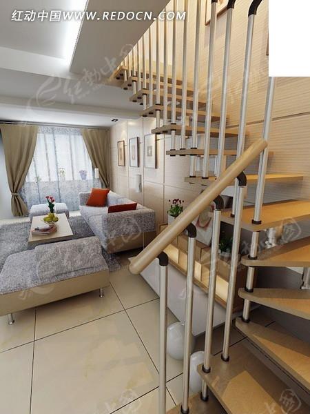 复式楼客厅楼梯处设计3D模型图图片
