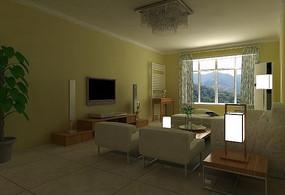 简约现代客厅3D效果图